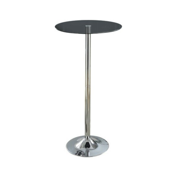 Chenault Metal Base Pub Table with Round Glass Top by Ebern Designs