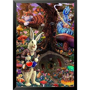 'Down the Rabbit Hole - Alice's Adventures in Wonderland' Framed Graphic Art by Buy Art For Less
