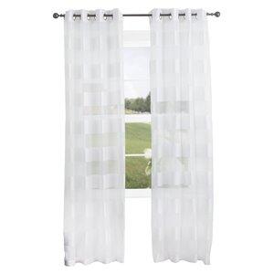 Byrd Striped Semi-Sheer Grommet Single Curtain Panel