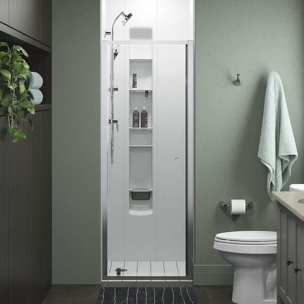 Whiston 30 In X 74 7 8 In Pivot Shower Door In Silver Frame Finish With Smooth Clear Glass Texture By Sterling By Kohler.