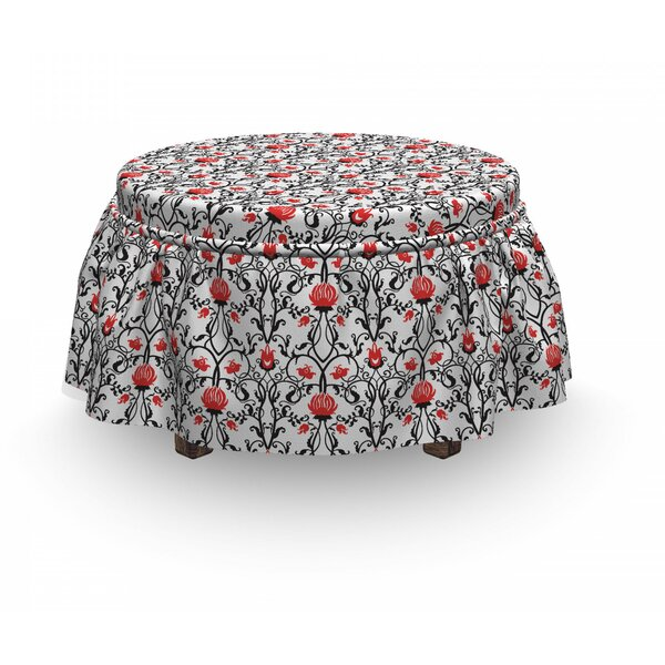 Rococo Tulip Bloom Ottoman Slipcover (Set Of 2) By East Urban Home