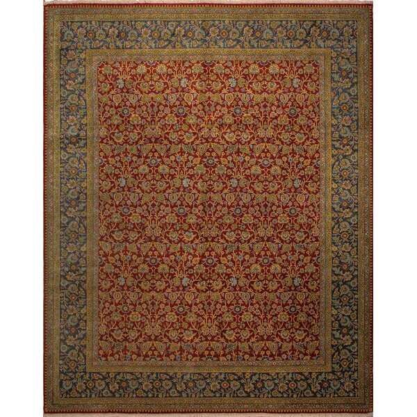 Clerkin Hand Knotted Wool Red/Blue Area Rug by Astoria Grand
