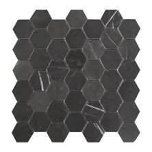Hexagon 2 x 2 Marble Mosaic Tile in Graphite by Seven Seas