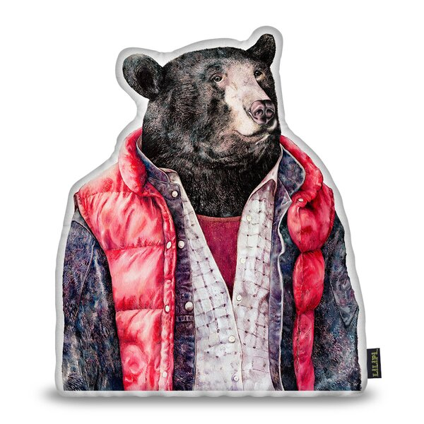 Jellison Bear Throw Pillow by Wrought Studio