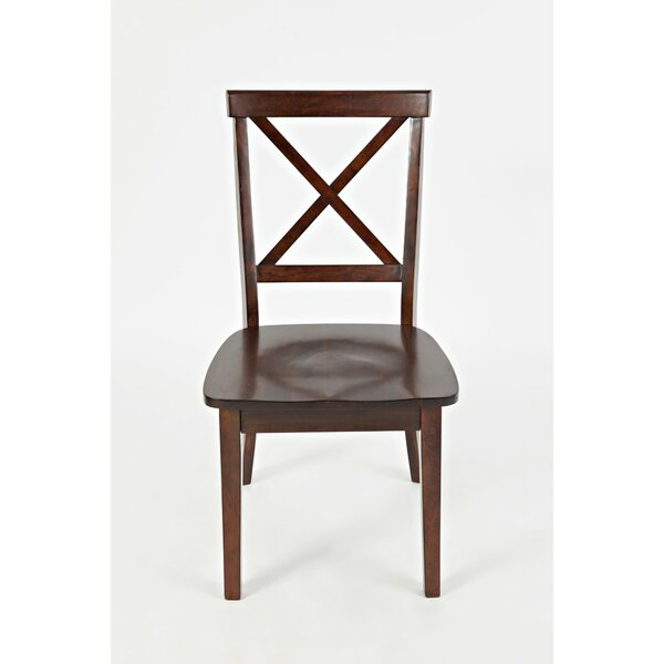 Jake Cross Back Solid Wood Dining Chair (Set of 2) by Longshore Tides