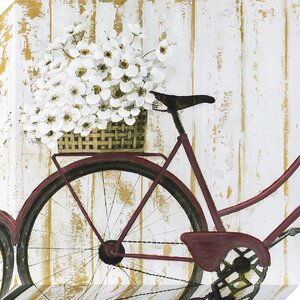 'Vintage Bike with Flowers' Painting on Wrapped Canvas by Laurel Foundry Modern Farmhouse
