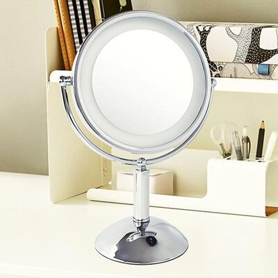 House Of Hampton Thor Round Stainless Steel Above Counter Glam Magnifying Lighted Makeup Shaving Mirror House Of Hampton Finish Chrome Dailymail