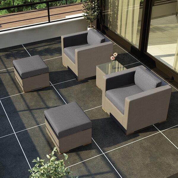 Element 5 Piece Teak Conversation Set with Sunbrella Cushions by Harmonia Living