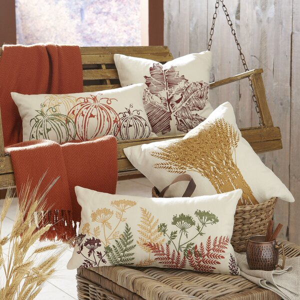 Wheat Bundle Embroidered Pillow Cover by Birch Lane™