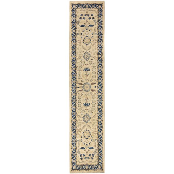 One-of-a-Kind Huseby Hand-Knotted Wool Beige/Blue Area Rug by Bloomsbury Market