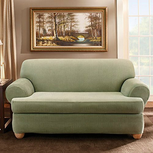 Stretch Stripe T-Cushion Loveseat Slipcover By Sure Fit