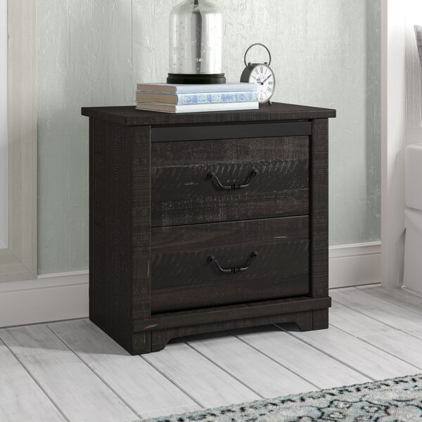 Solihull Farmhouse 2 Drawer Nightstand by Three Posts