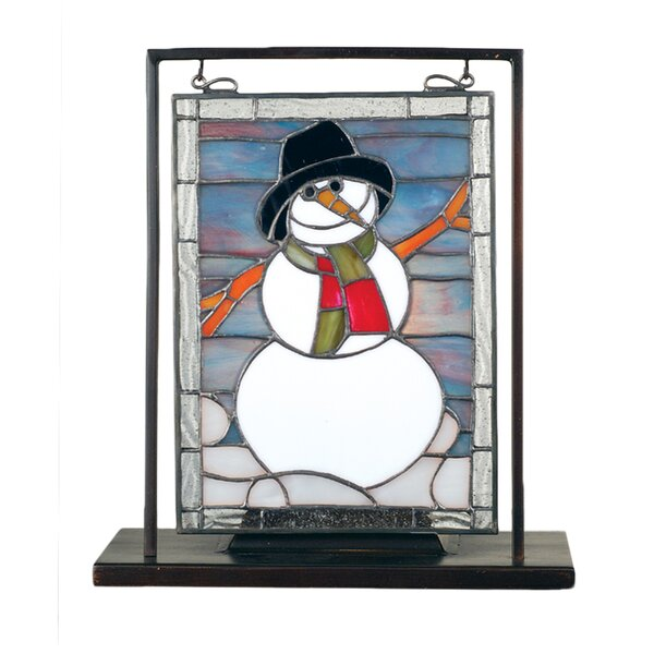Tiffany Snowman Lighted Mini Tabletop Window Table Lamp by Meyda Tiffany