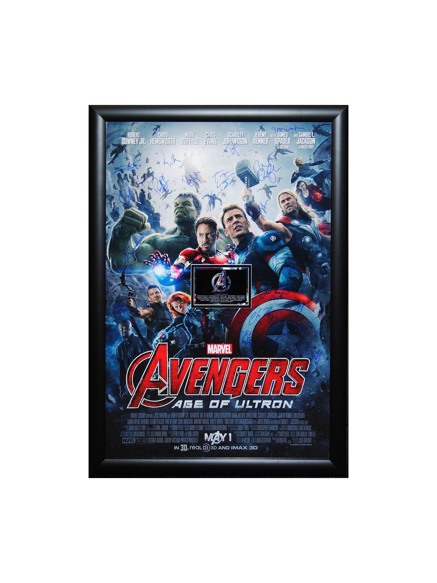 LuxeWest Avengers Age Of Ultron Autographed Movie Poster Framed Wall Art
