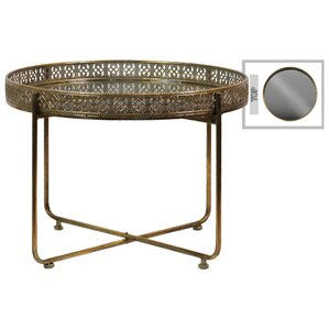 Abbas Modish Low Round Metal Tray Table with Mirror Top by Rosdorf Park