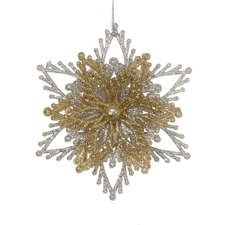 Christmas Ornament Kurt Adler Gold /& Silver Glitzy Acrylic Crystal Snowflake A