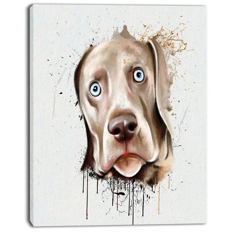 Designart Cute Dog Portrait Watercolor Graphic Art On Wrapped Canvas Wayfair