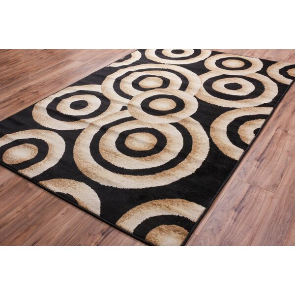 Shorey Circles Black/Gold Area Rug by Ebern Designs