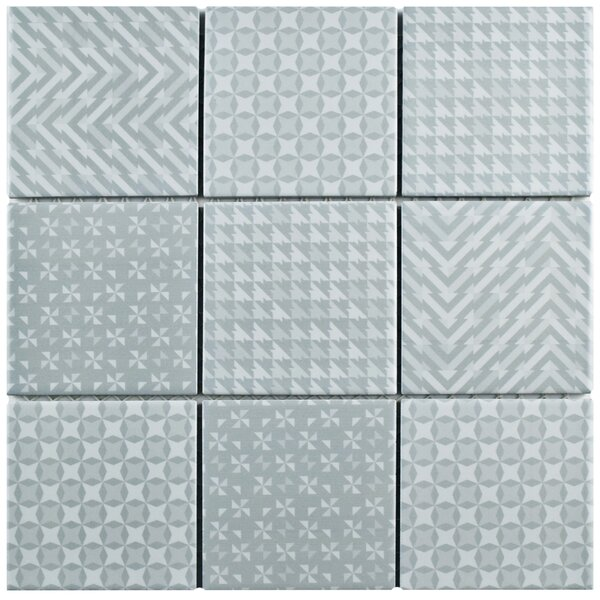 Geogloss 3.88 x 3.88 Porcelain Mosaic Tile in Gray by EliteTile