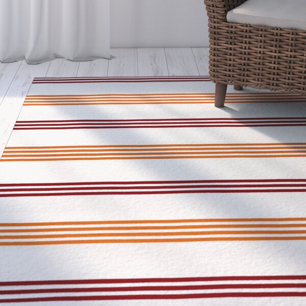 Raelyn Orange/Burgundy Indoor/Outdoor Area Rug by Breakwater Bay