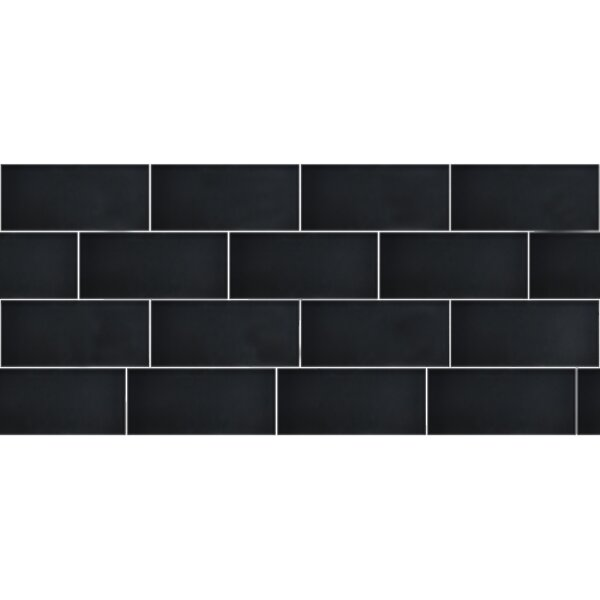 Secret Dimensions 3 x 6 Glass Subway Tile in Frosted Dark Gray by Abolos