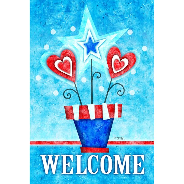 Potted Patriotic Welcome 2-Sided Garden flag by Toland Home Garden