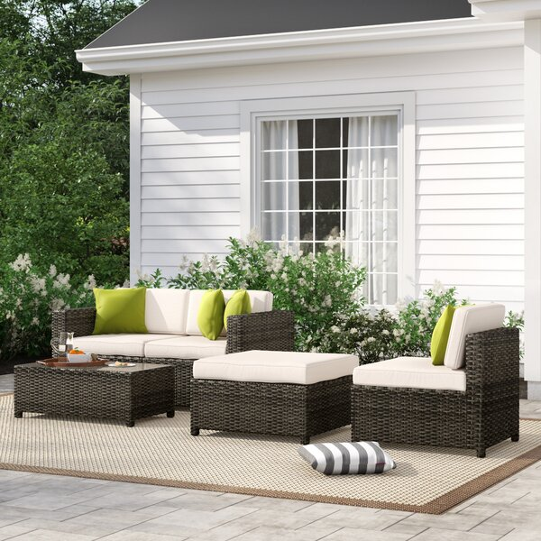 Carmelo 5 Piece Rattan Sectional Seating Group with Cushions by Sol 72 Outdoor