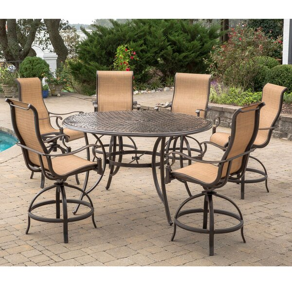 Buariki 7 Pieces Height-Dining Set with Umbrella by Fleur De Lis Living