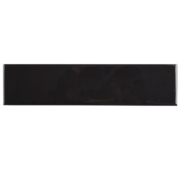 Retro 1.75 x 7.75 Porcelain Field Tile in Glossy Black by EliteTile