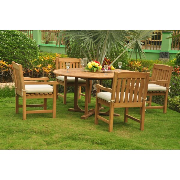 Pasadena Luxurious 5 Piece Teak Dining Set by Rosecliff Heights