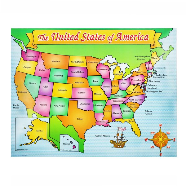 Usa Map Friendly Chart 17x22 by Teachers Friend