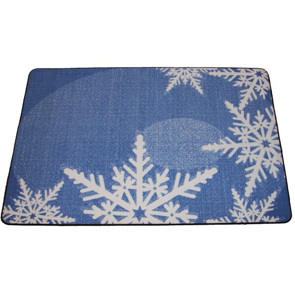 Eveloe Graphic Snowflakes FroSaint Blue/Beige Area Rug by The Holiday Aisle