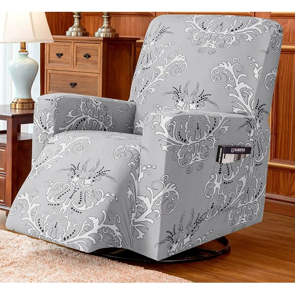 Foral Printed Stretch Box Cushion Recliner Slipcover By Fleur De Lis Living