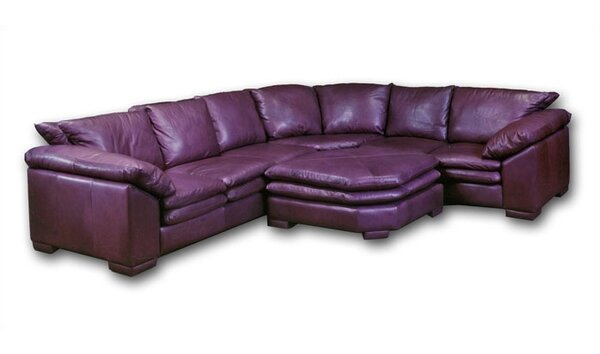 Fargo Leather Sectional with Ottoman by Omnia Leather