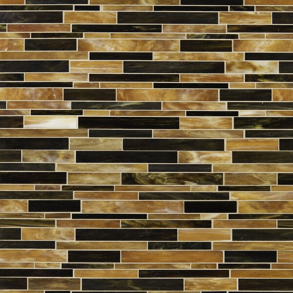 Ambrosia Interlocking  Glass Mosaic Tile in Brown by MSI