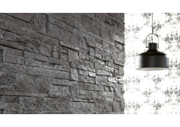 Odyssee Random Sized Engineered Stone Field Tile in Charcoal (Set of 8) by Stone Design