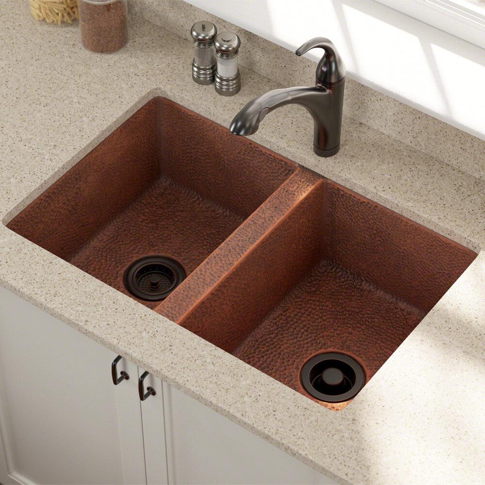 Mrdirect Copper 33 L X 22 W Double Basin Undermount Kitchen Sink