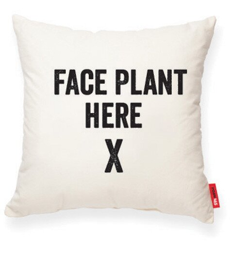 Expressive Face Plant Here Cotton Throw Pillow by Posh365