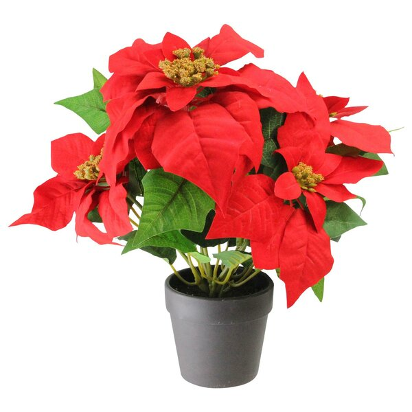 Artificial Poinsettia Flower Arrangement in Vase by The Holiday Aisle