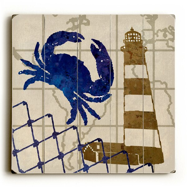 Crab and Lighthouse Graphic Art by Breakwater Bay