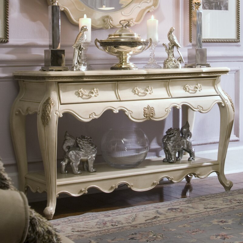 Lavelle Console Table and Mirror Set in Blanc & Foyer Table And Mirror Set   Wayfair