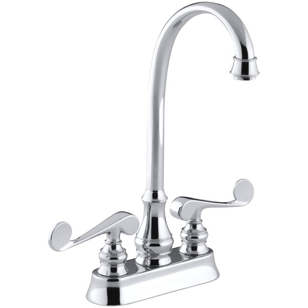 Revival Two-Hole Centerset Bar Sink Faucet with Scroll Lever Handles by Kohler