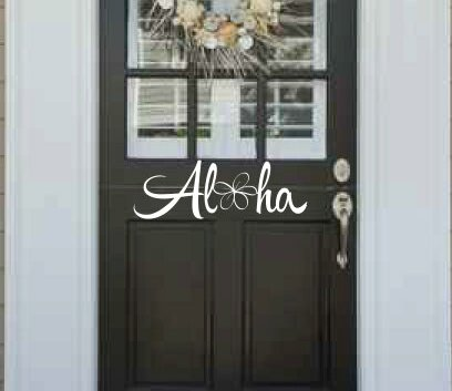 Higgins Aloha with Plumeria Door Wall Decal by Bay Isle Home
