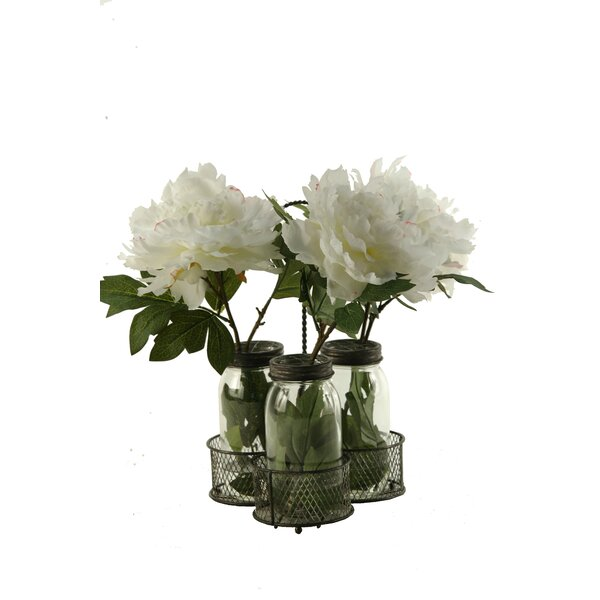 Peonies in Glass Jars in Metal Holder by One Allium Way