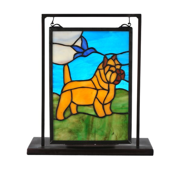 Greenbriar Oak Cairn Terrier Lighted Mini Tabletop Window by Meyda Tiffany