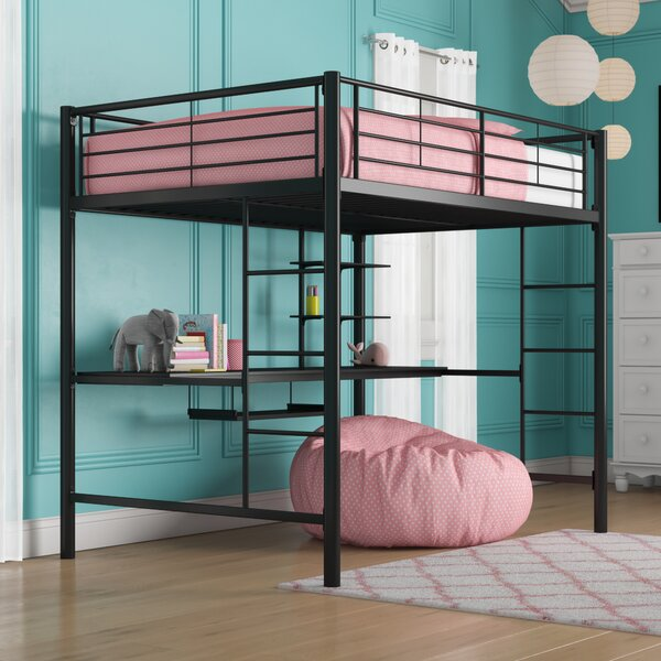 Maurice Full Loft Bed with Desk and Bookcase by Viv + Rae