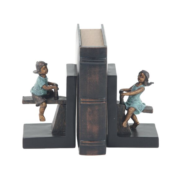 Modern Playing Boy and Girl Bookends (Set of 2) by Alcott Hill