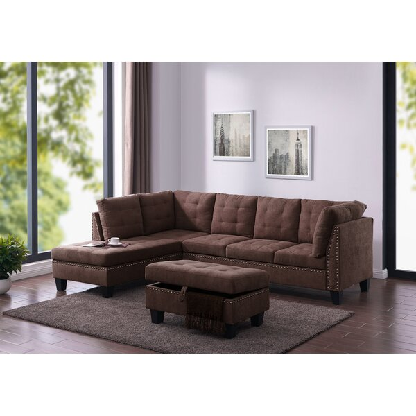 Modern Brand Loughlin Left Hand Facing Sectional with Ottoman by House of Hampton by House of Hampton