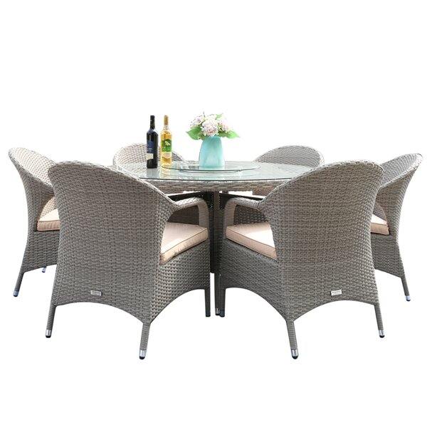 Gaines 7 Piece Dining Set with Cushions by Highland Dunes