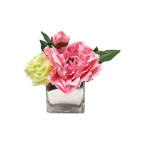 Peony and Hydrangea Centerpiece in Glass by Ophelia & Co.